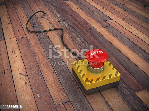 OOPS! Push Button with Cable on Wood Floor - 3D Rendering