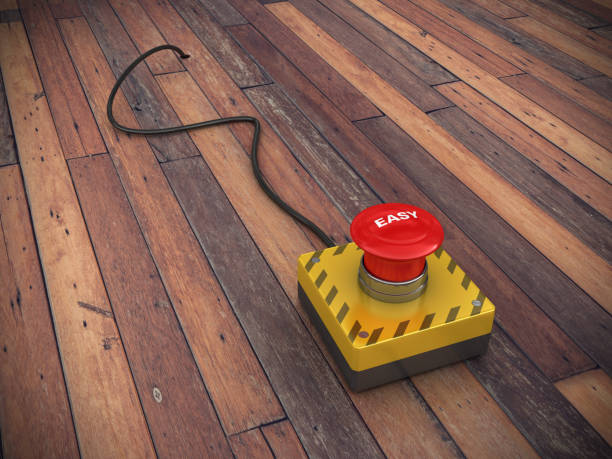 EASY Druckknopf mit Kabel auf Holzboden - 3D Rendering – Foto