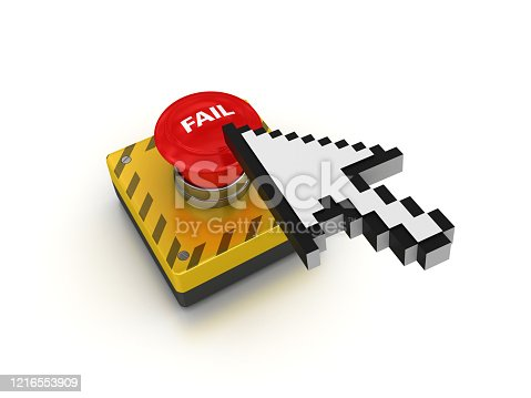 FAIL Push Button with Cursor - White Background - 3D Rendering