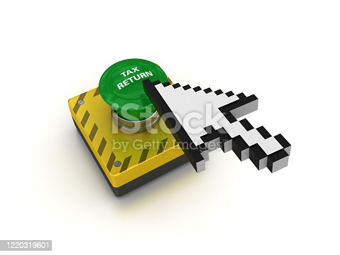TAX RETURN Push Button with Cursor - White Background - 3D Rendering