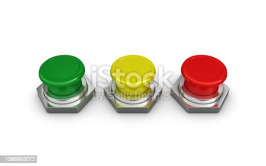 Push Buttons - White Background - 3D Rendering