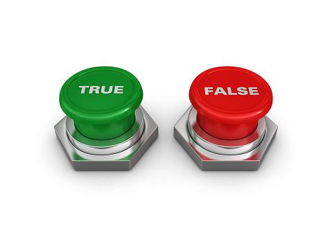 TRUE FALSE Push Buttons - White Background - 3D Rendering