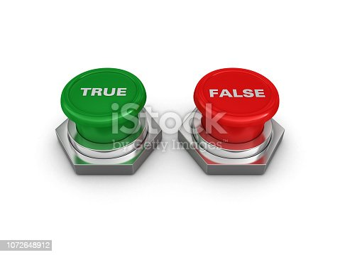 TRUE FALSE Push Buttons - White Background - 3D Rendering