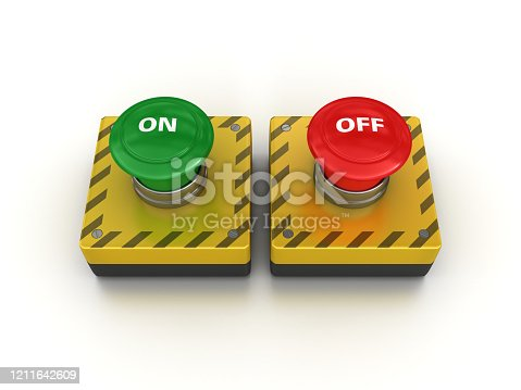 ON OFF Push Buttons - White Background - 3D Rendering