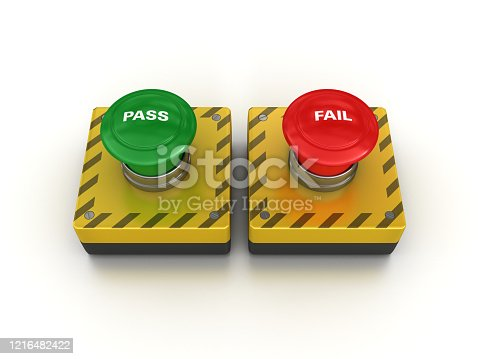 PASS FAIL Push Buttons - White Background - 3D Rendering