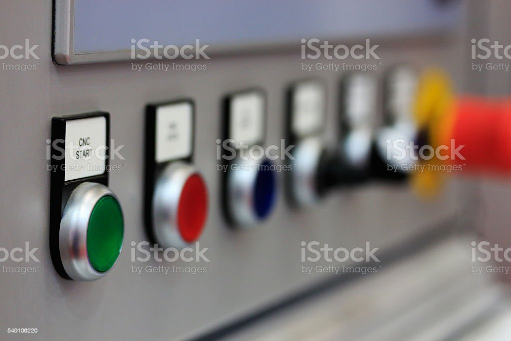 push buttons on control panel stock photo