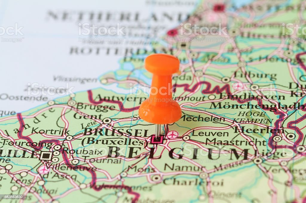 push pin on map of brussels belgium royalty free stock photo