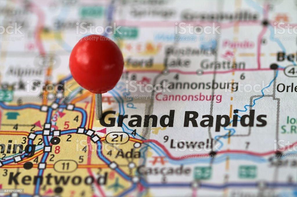 Push pin on map of Grand Rapids, MIchigan stock photo