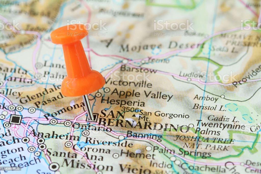 Picture of: Push Pin On Map Of San Bernardino California Usa Stock Photo Download Image Now Istock