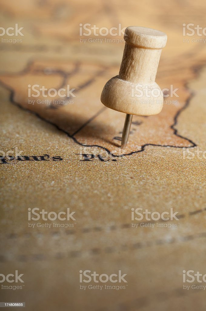 Push Pin on Old Map royalty-free stock photo
