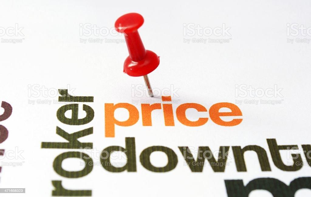 Push pin on price text royalty-free stock photo
