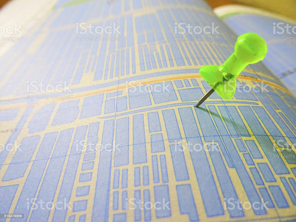 Push pin on the Map stock photo