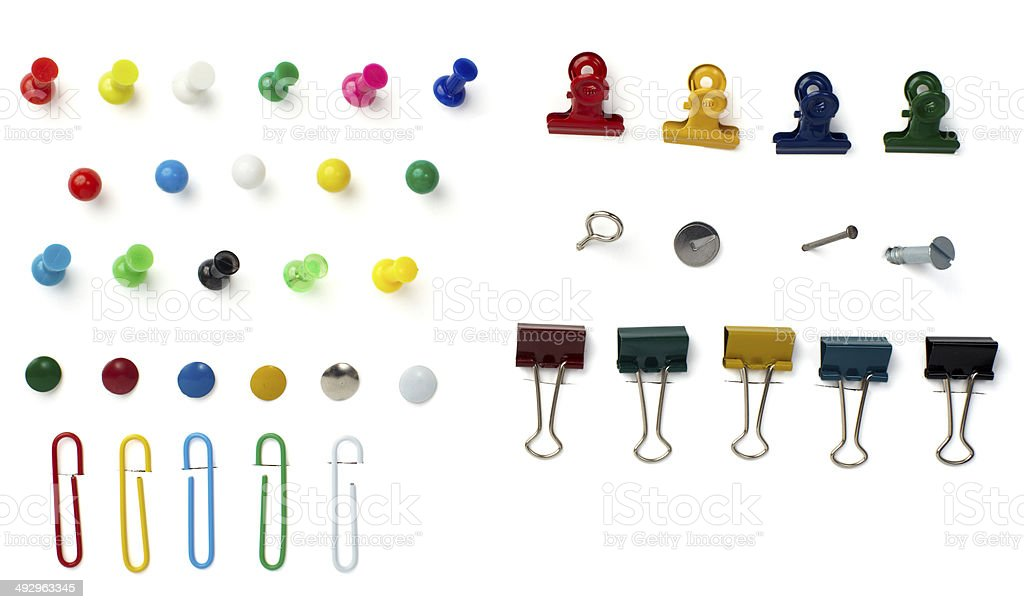 push pin paper clip stock photo