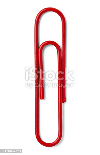 close up of push pin paperclip on white background