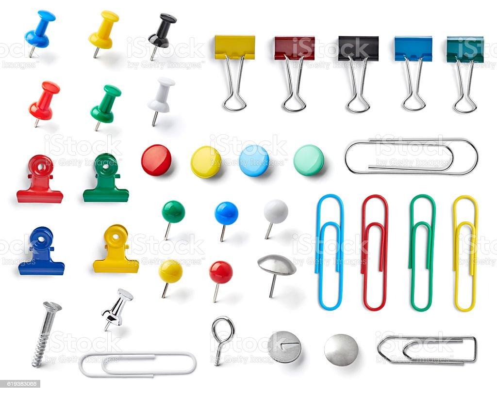 push pin thumbtack paper clip office business stock photo