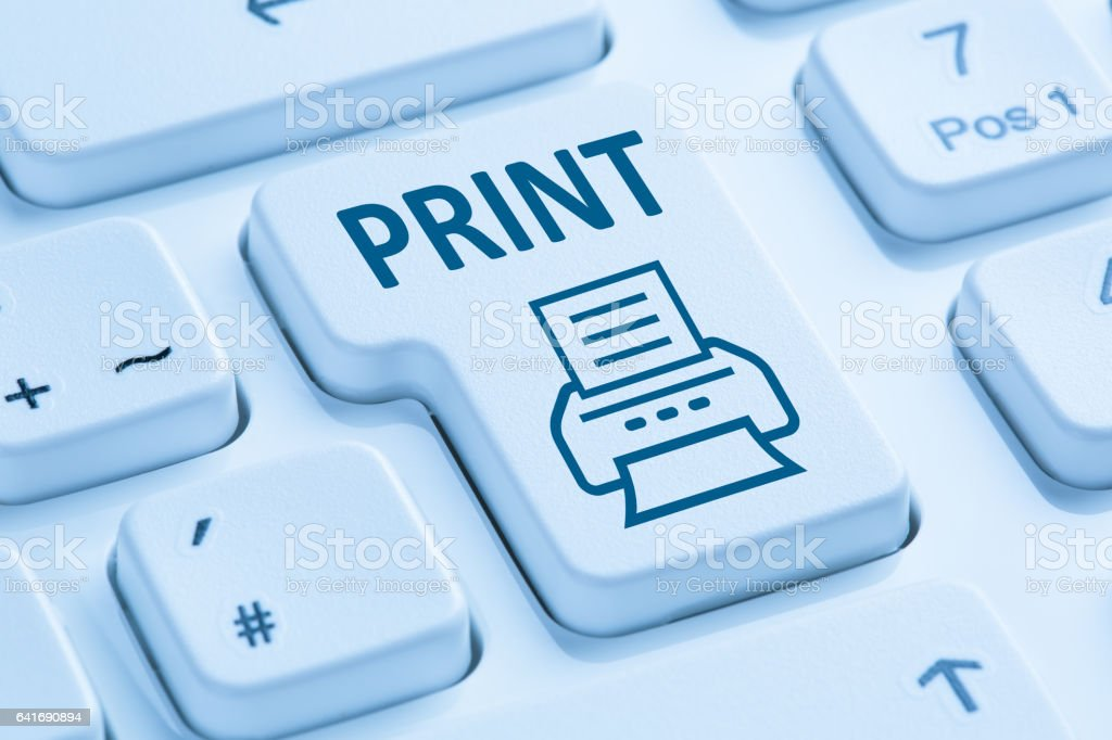 Push print button printing printer blue computer keyboard stock photo