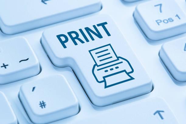 """drücken der schaltfläche """"drucken"""" drucken drucker blau computer-tastatur - ausdrucken stock-fotos und bilder"""