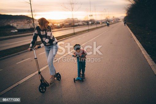 665192886 istock photo Push scooter race 664771030