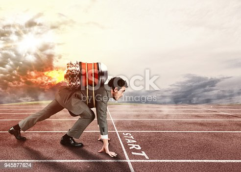 istock Push to reach the goals before the others 945877624