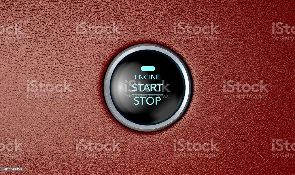 Push To Start Red Leather Button stock photo