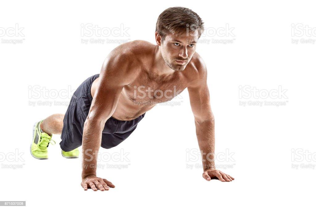 Pushup Fitness Mann Tut Pushupkörpergewicht Übung Im Fitnessstudio ...