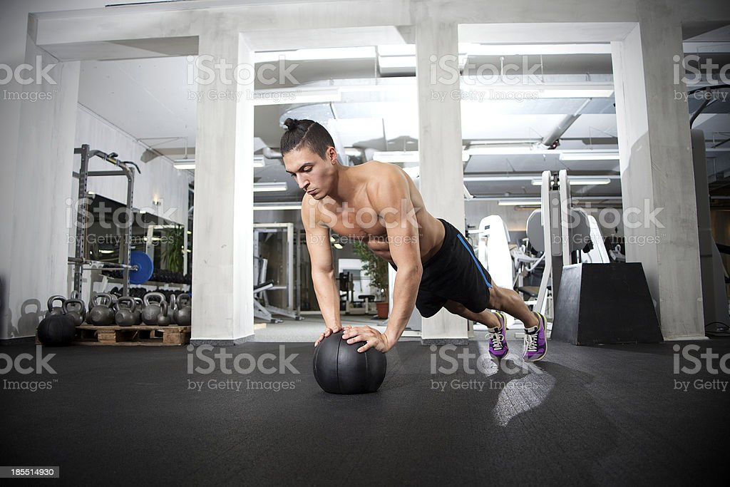 Push up on medicine ball royalty-free stock photo