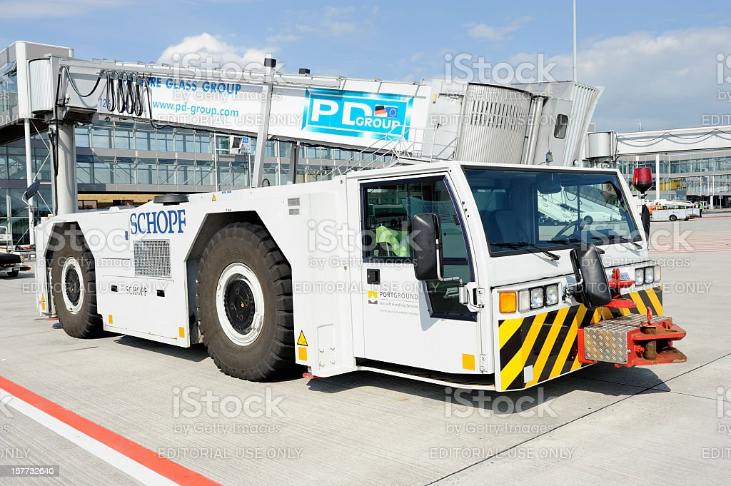 Pushback Truck at Leipzig/Halle Airport stock photo