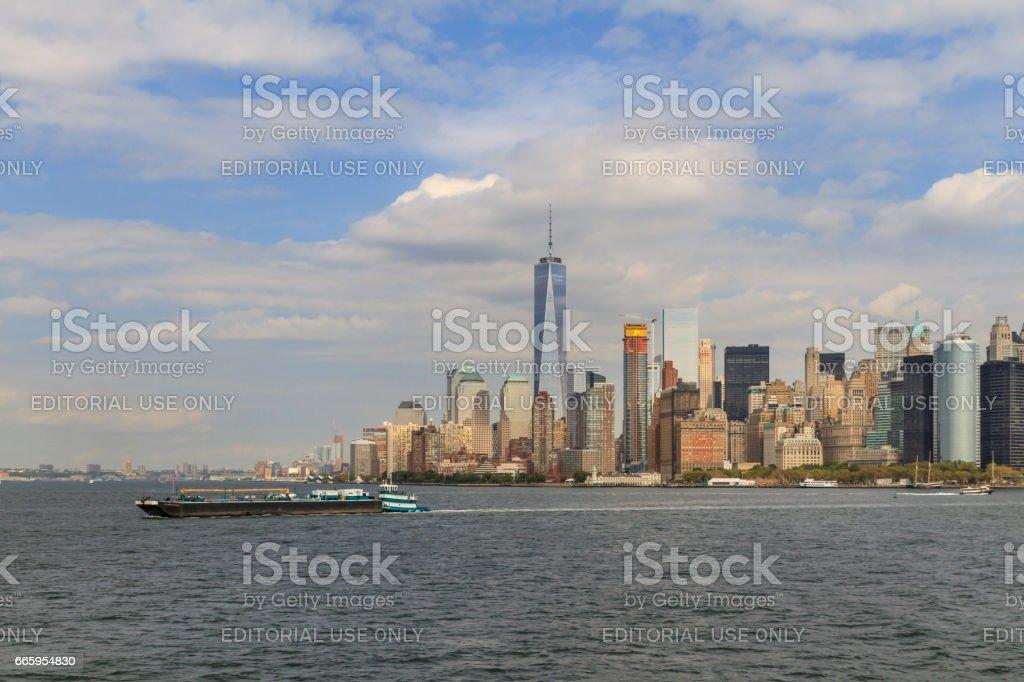 Pusher tug on Upper New York Bay stock photo