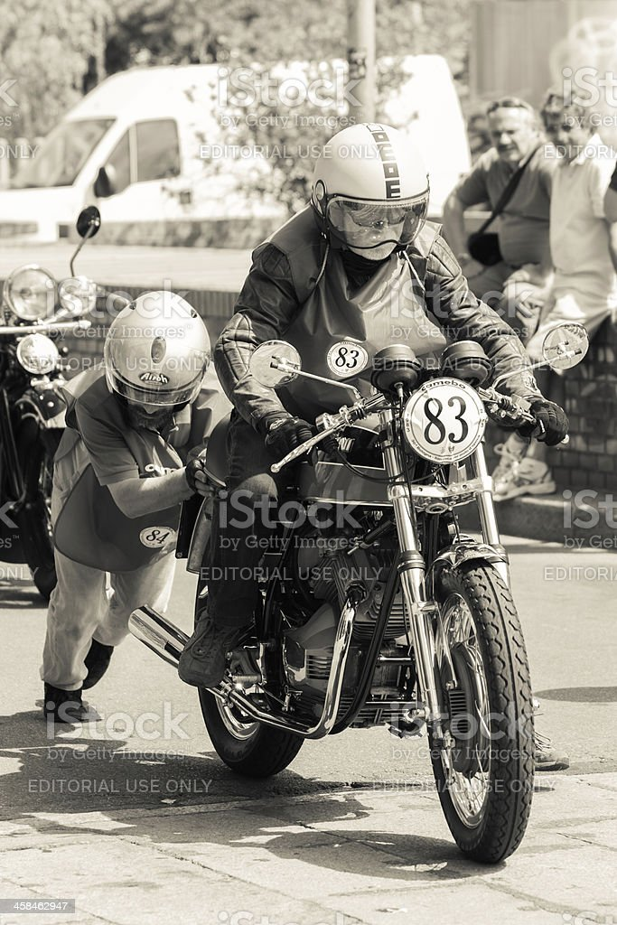 Pushing A Stopped Old Motorcycle Stock Photo - Download Image Now - iStock