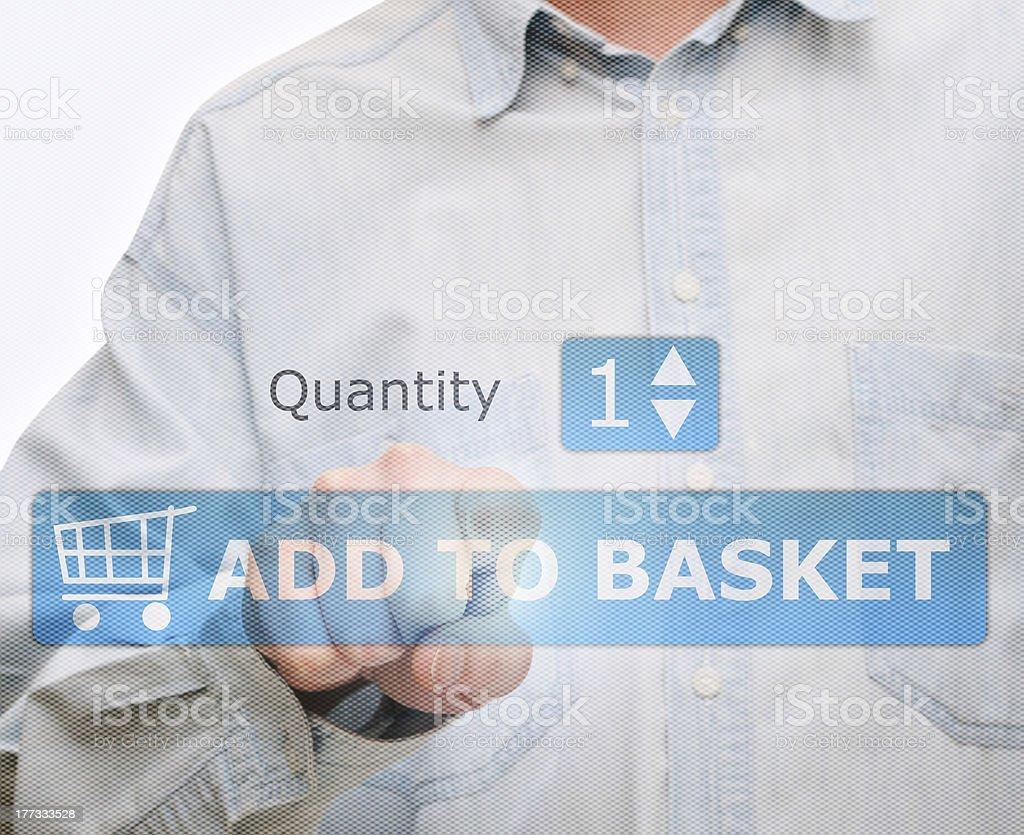 Pushing Add to Basket Button royalty-free stock photo