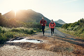 Full length shot of a young couple out for a morning run