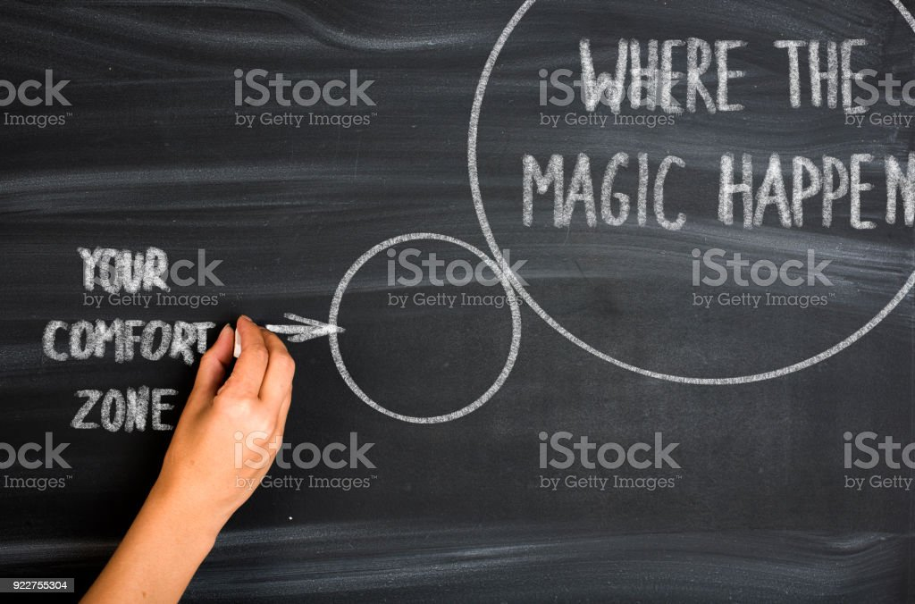 Pushing outside your comfort zone stock photo