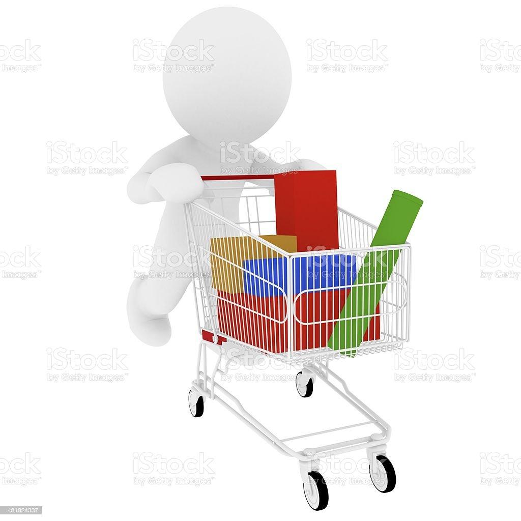 Pushing shopping cart stock photo