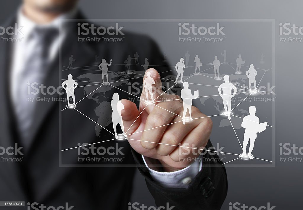 pushing social network structure stock photo