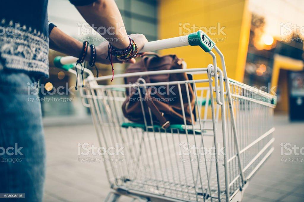 Pushing the cart stock photo