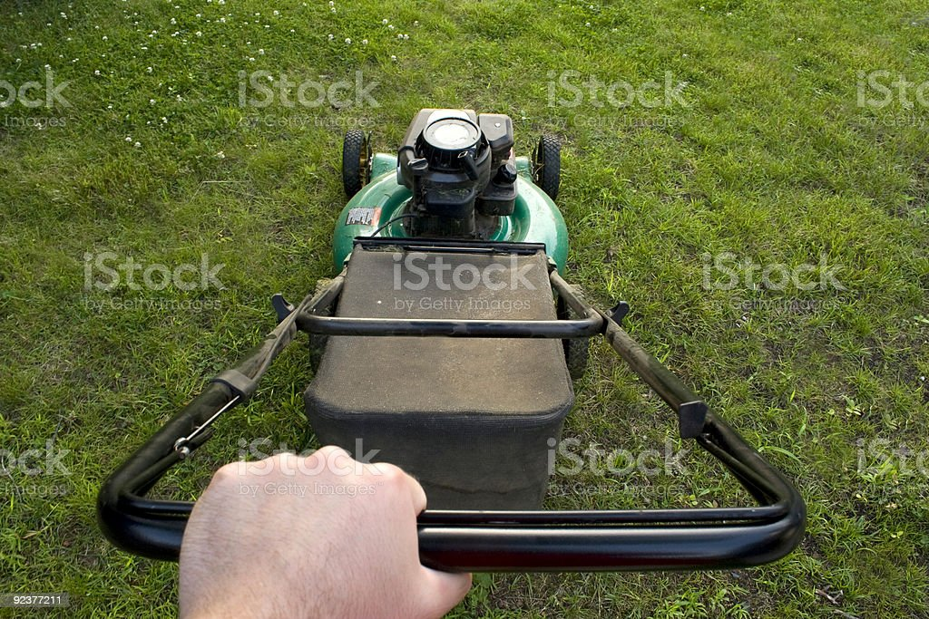 Pushing the Lawn Mower royalty-free stock photo
