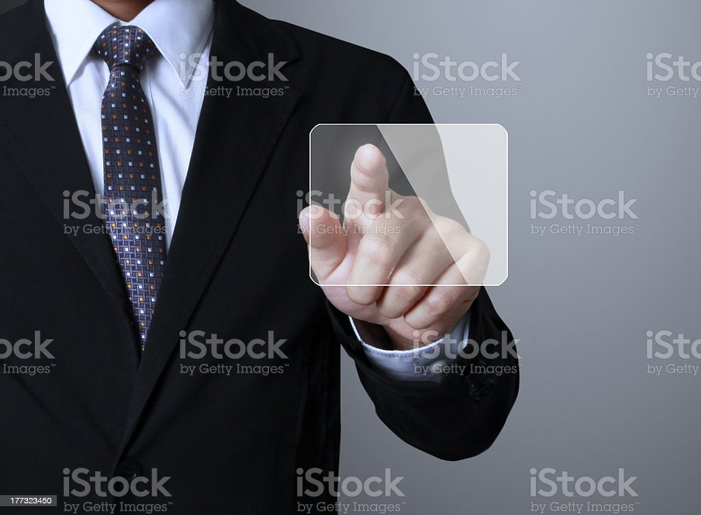 pushing  touch screen interface royalty-free stock photo