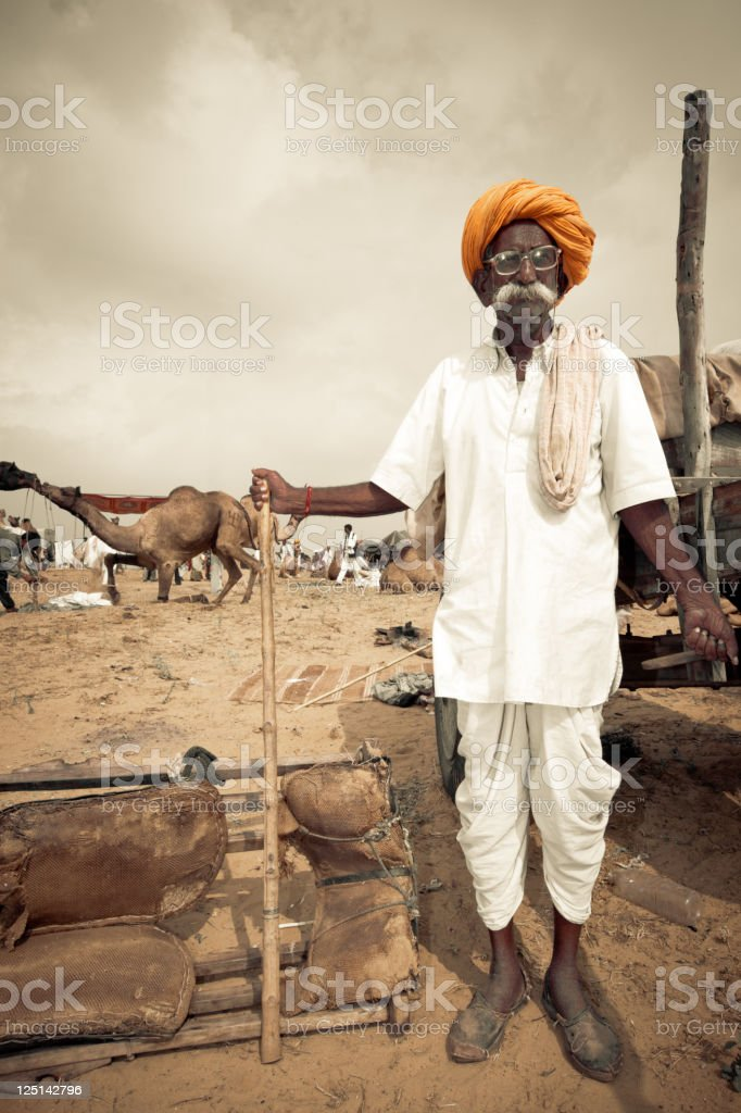 Pushkar Fair Indian Camel Market India Real People Portrait Series stock photo