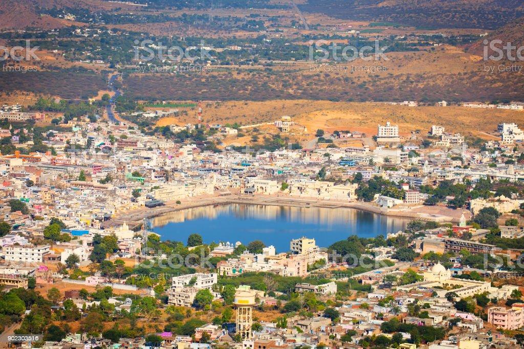 Pushkar, India, Aerial View stock photo
