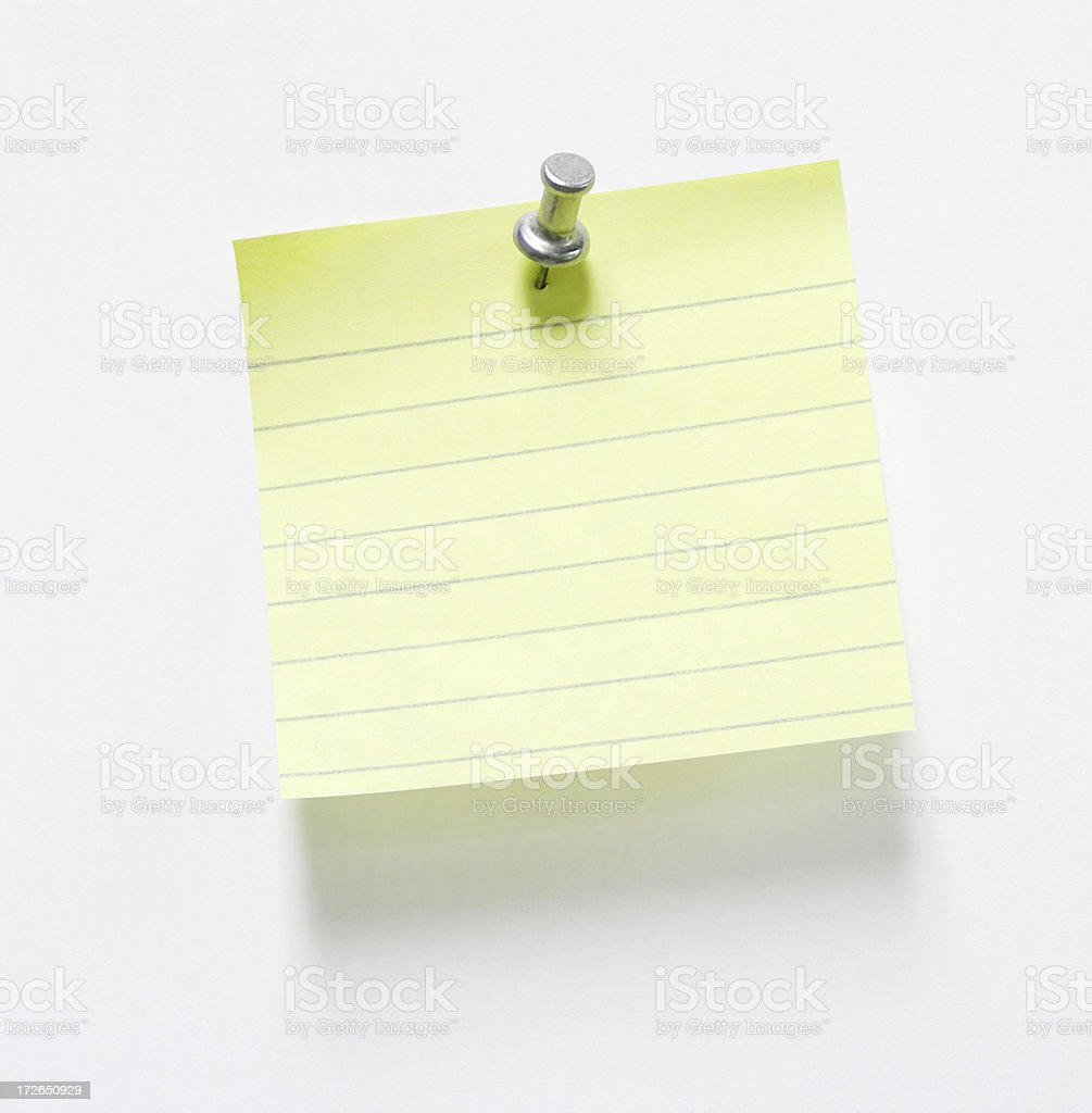 Pushpin and Note w/ optional clipping path royalty-free stock photo
