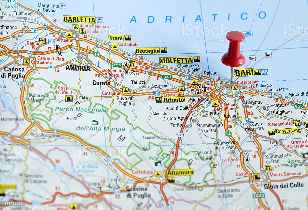 Mapa De Bari Italia.Pushpin En El Mapa Bari Italia Foto De Stock Y Mas Banco De Imagenes De Bari Istock