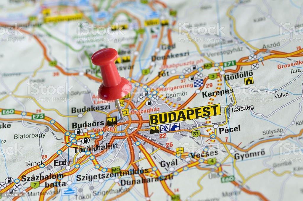 Pushpin In Map Budapest Hungary Stock Photo & More Pictures of ...