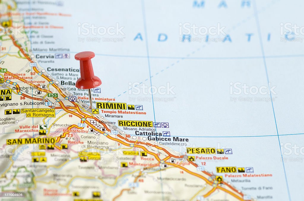 Pushpin In Map Rimini Italy Stock Photo More Pictures of Adriatic