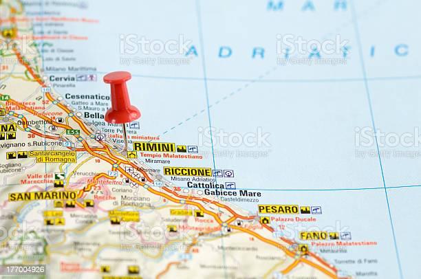 Cartina Italia Riccione.Pushpin In Map Rimini Italy Stock Photo Download Image Now Istock