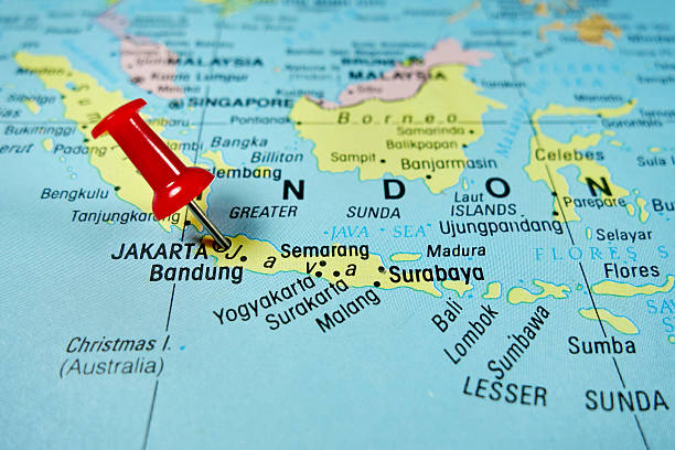 Royalty free indonesia map cartography jakarta pictures images and pushpin marking on jakarta indonesia stock photo gumiabroncs Gallery