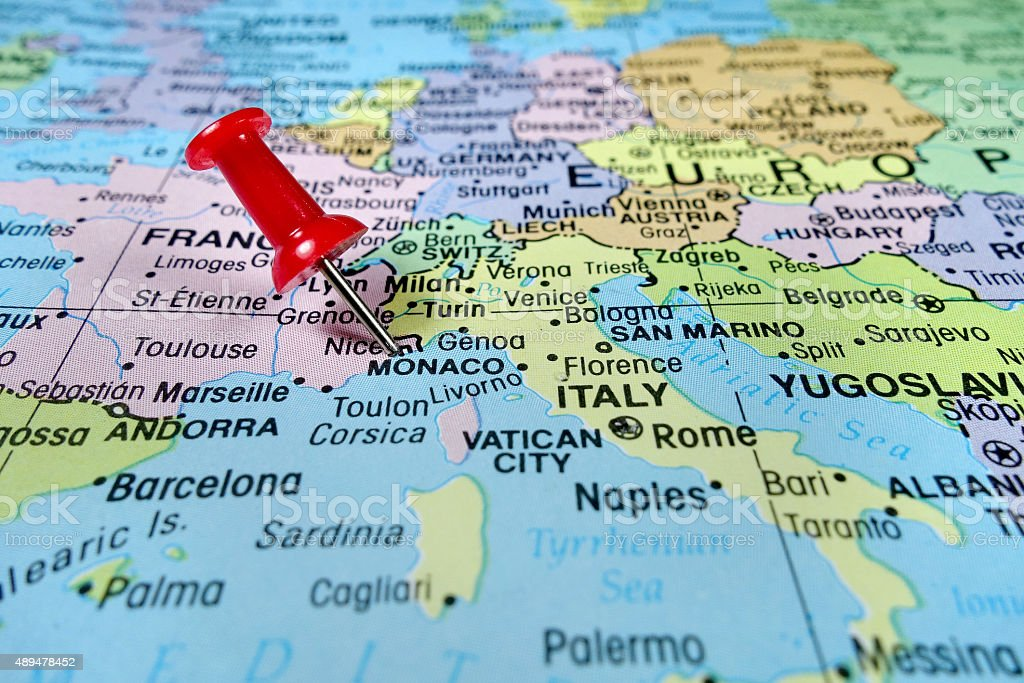 Monte Carlo World Map.Pushpin Marking On Monaco Map Stock Photo More Pictures Of 2015