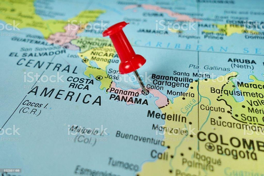 Pushpin marking on Panama map stock photo