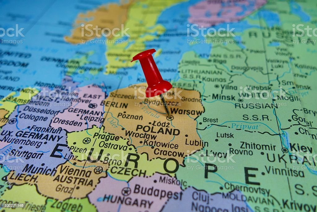 Pushpin Marking On Poland Map Stock Photo IStock - Poland map