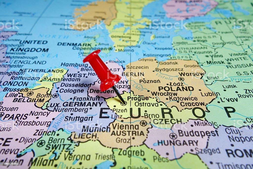 Pushpin Marking On Prague Czech Republic Stock Photo ...
