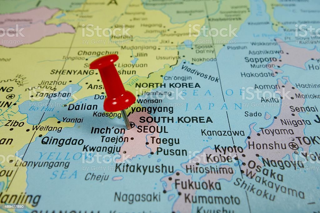 Pushpin Marking On Seoul South Korea Map Stock Photo More Pictures